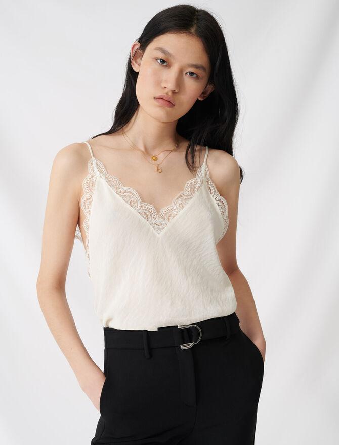 Caraco en crêpe avec dentelle - Tops & Shirts - MAJE