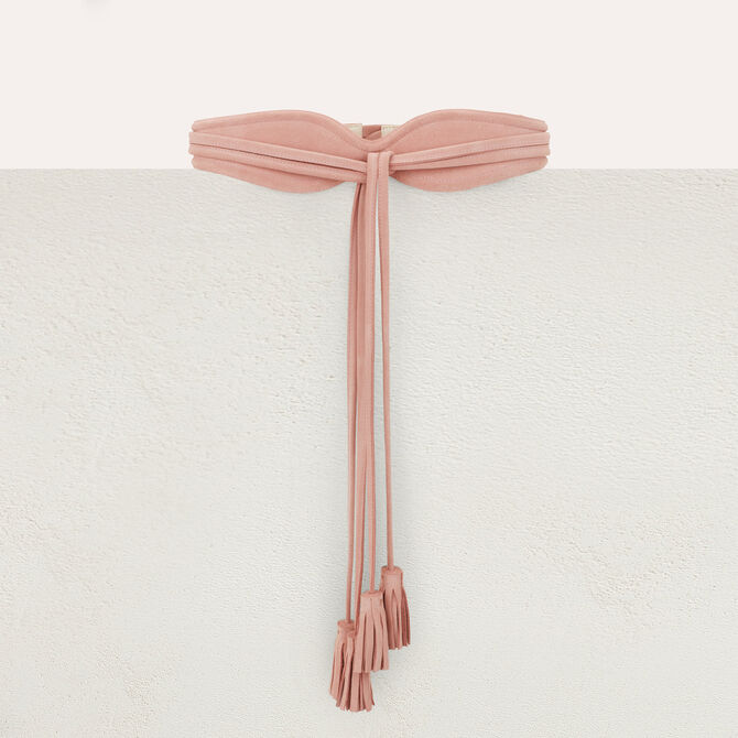 High-waisted suede belt with pompom ties - See all - MAJE