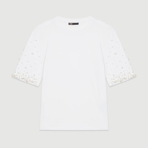Cotton T-shirt with pearls : T-Shirts color White