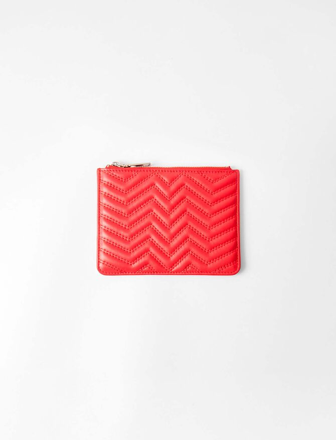 Zipped quilted leather pouch -  - MAJE