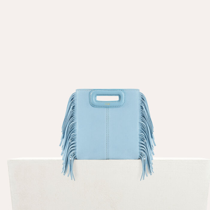 Fringed suede M minibag : M bags color Blue Sky