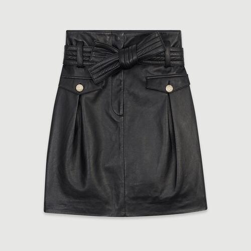 Short leather skirt : Skirts & Shorts color Black