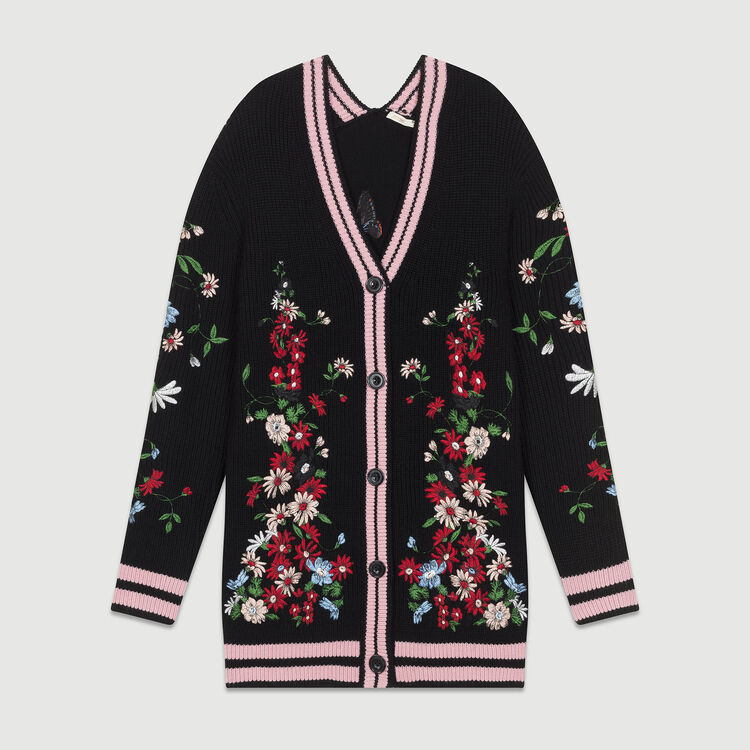 Long embroidered cardigan : Knitwear color Black 210
