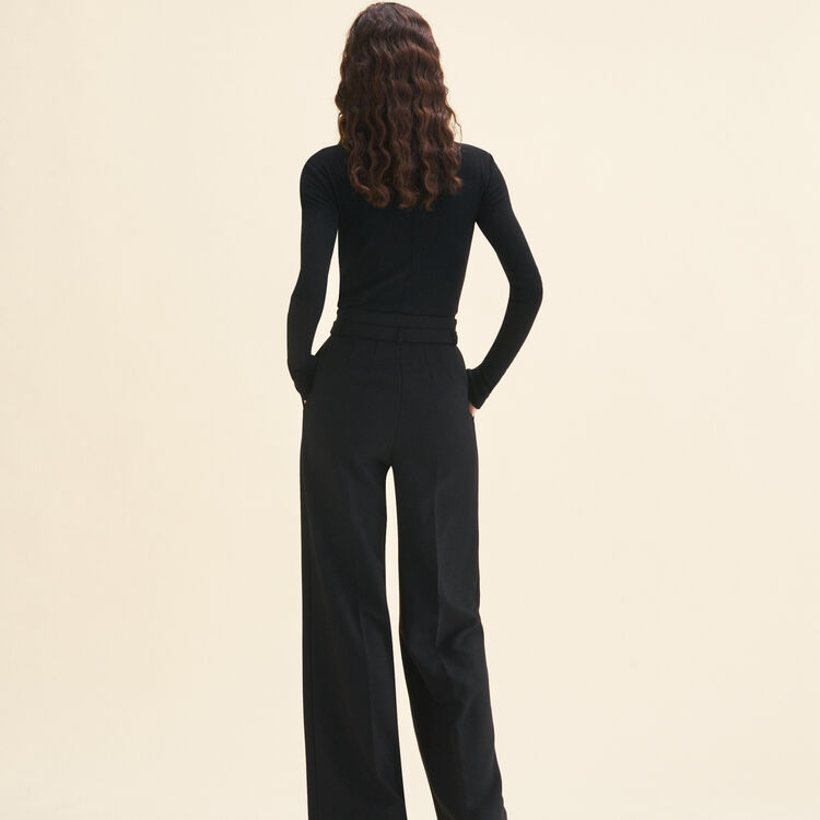 Wide high-waisted trousers : Trousers color Black 210