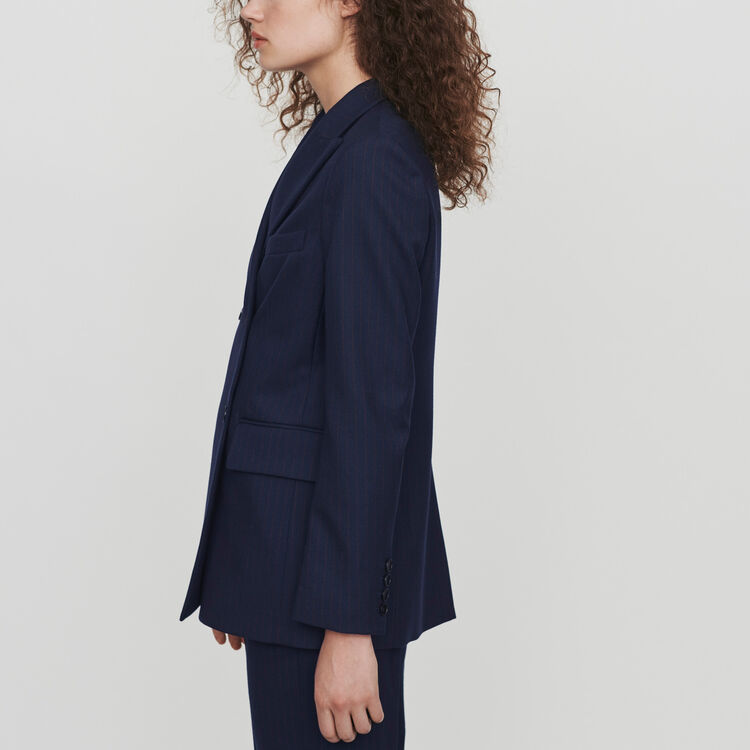 Racing-striped double breasted jacket : Blazers color Navy
