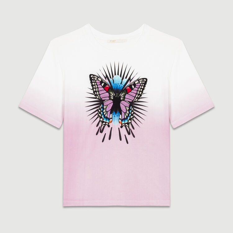 T-shirt with embroidered butterfly : T-Shirts color PURPLE
