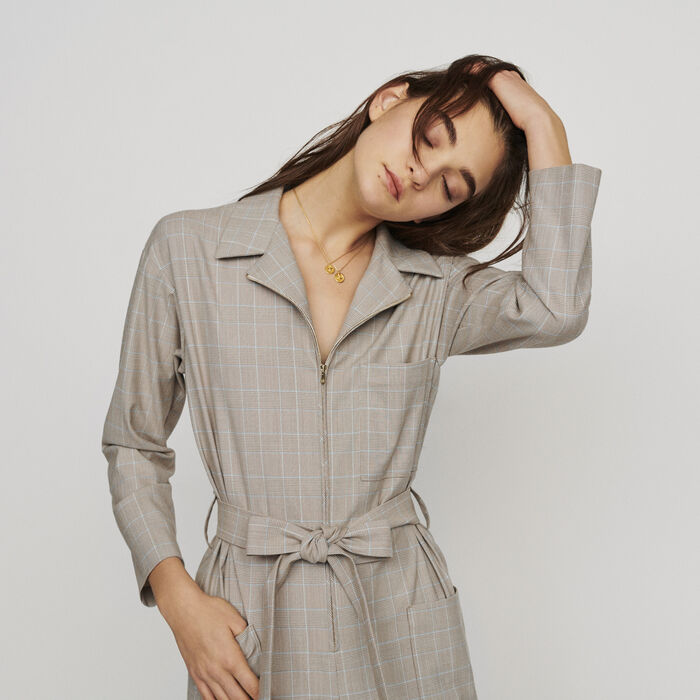 Belted checked jumpsuit : Trousers & Jeans color CARREAUX