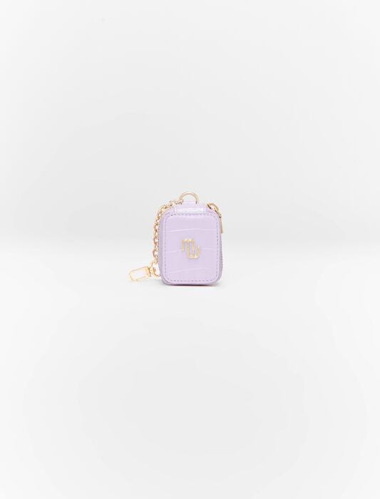 Embossed leather earphone case : Small leather goods color Parma Violet