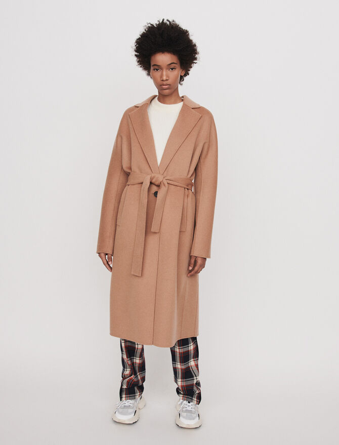 Belted double face coat - Coats & Jackets - MAJE