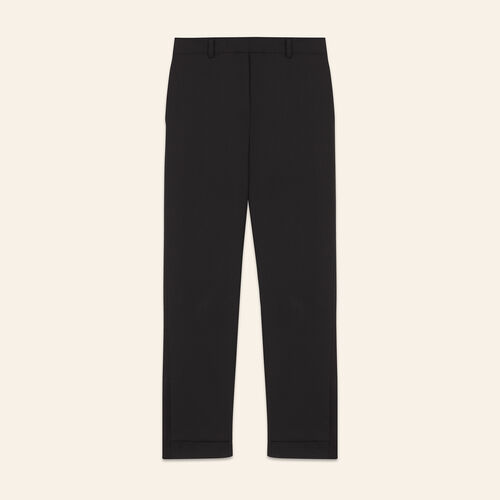 7/8 length crêpe trousers  : Trousers color Black 210