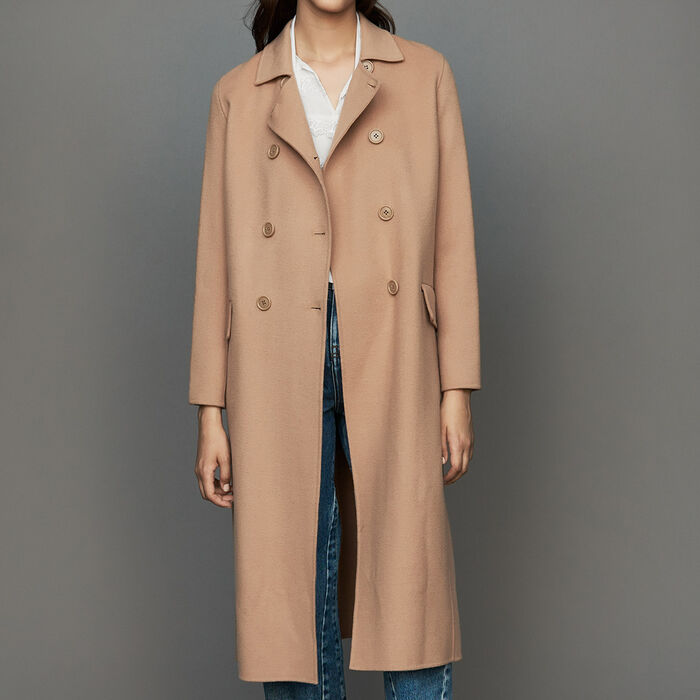 Long double-faced wool coat : Coats color Camel
