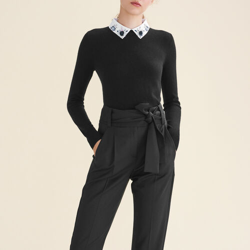 Rhinstone jumper with shirt collar : See all color Black 210