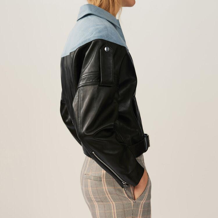 Leather-denim blend jacket : Jackets color Black 210