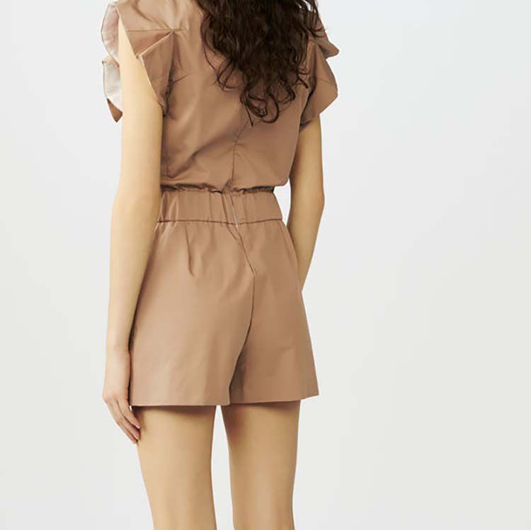 Cotton canvas romper : See all color Beige