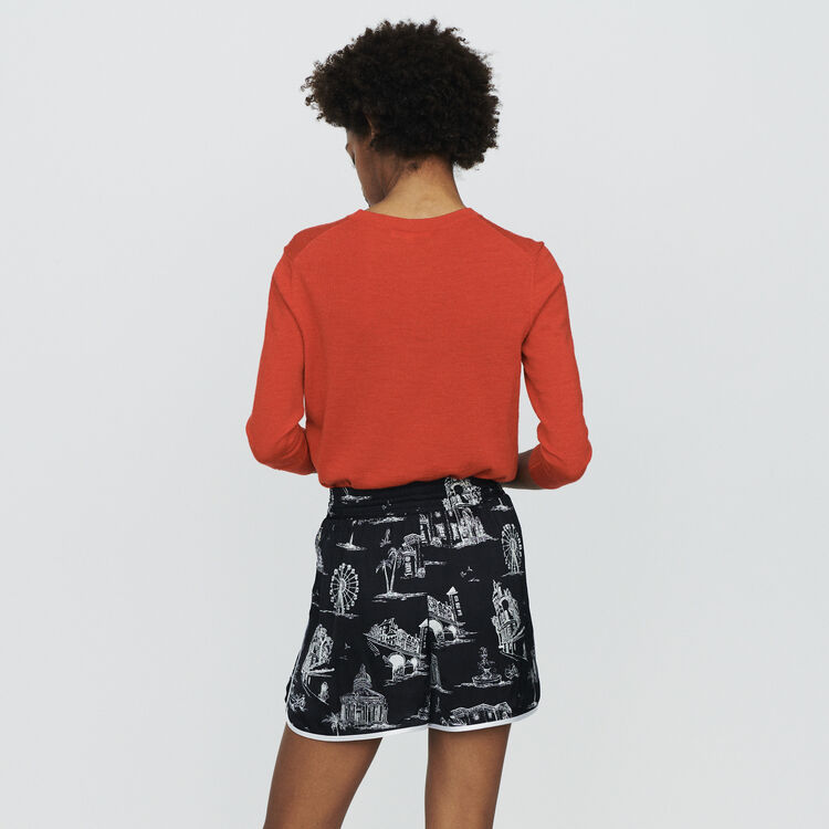 Shorts with Paris print : Skirts & Shorts color BLACK