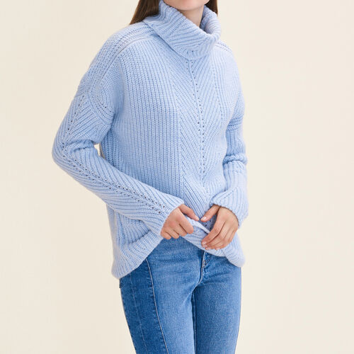 Oversized roll-neck jumper : Knitwear color Blue Sky