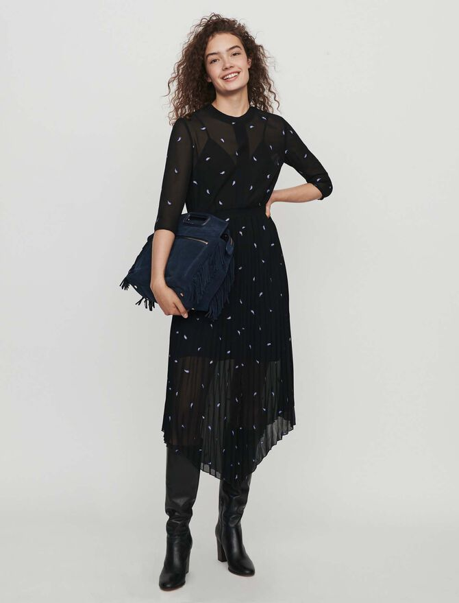 Pleated dress with embroidered cashmere - Best Sellers - MAJE