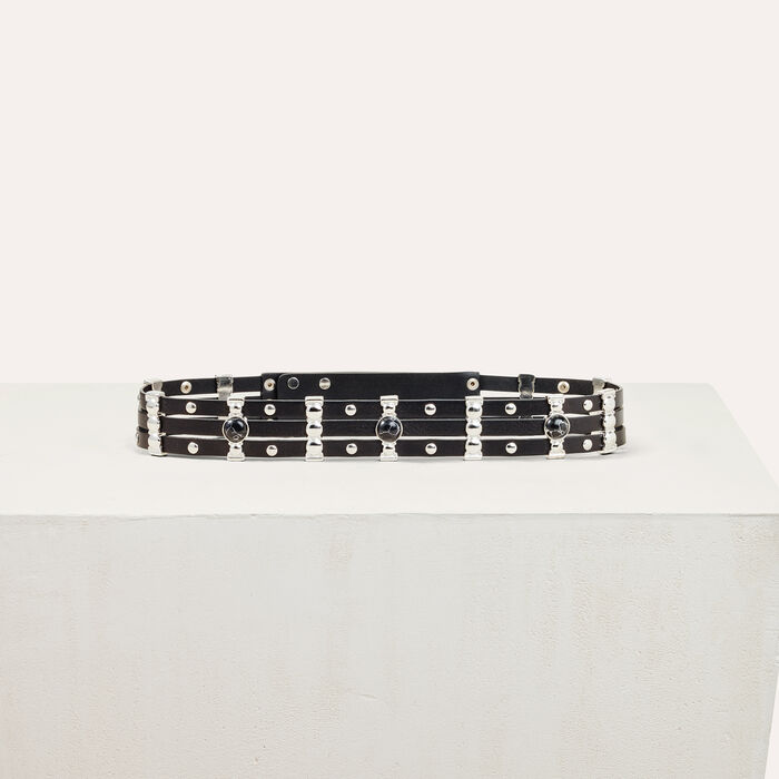 Leather belt with stones : See all color