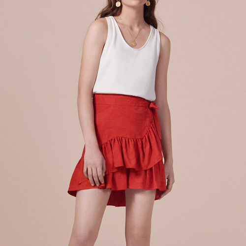 Wraparound skirt with frills : Skirts & Shorts color Red