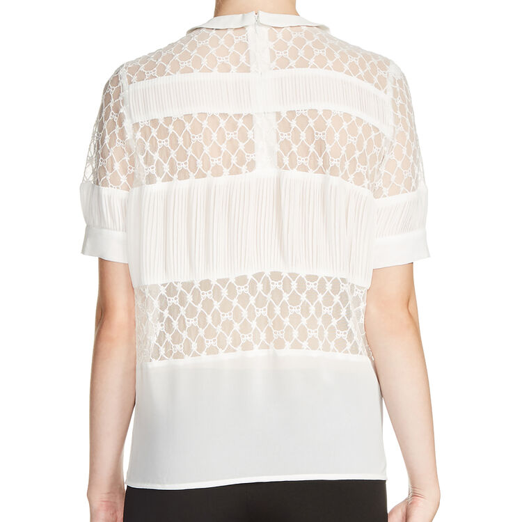 Lace top with Peter Pan collar : In exclusivity color Ecru
