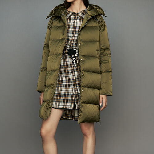 Long down jacket with hood : Coats color Khaki