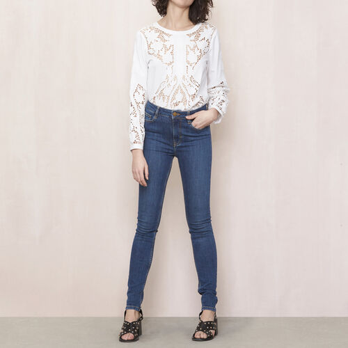High-waisted slim-fit jeans : Trousers & Jeans color Denim