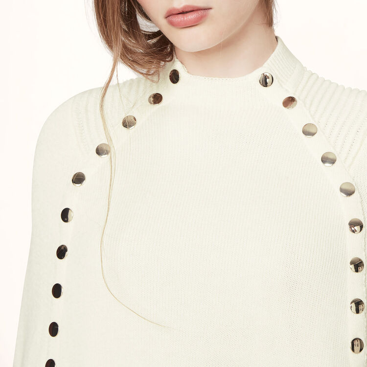 Poncho-style cape with press-studs : Sweaters & Cardigans color Ecru