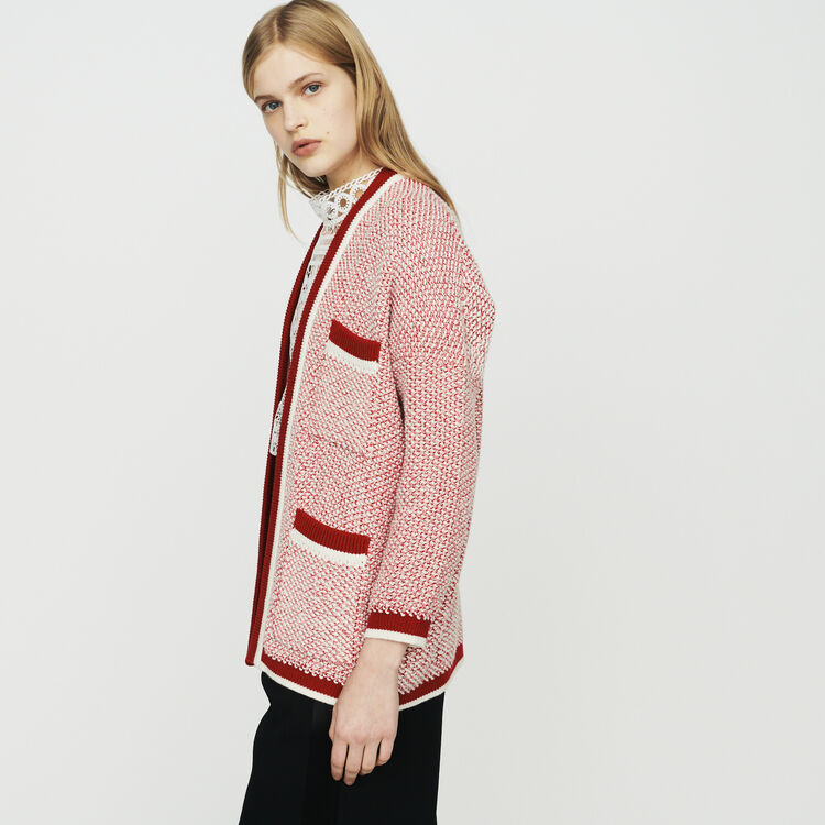 Mid-length cardigan in bicolor wool : Knitwear color Red