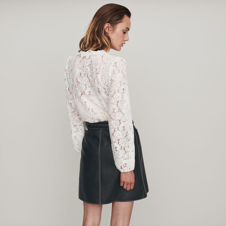 Guipure top with cashmere detail : Tops & Shirts color Ecru
