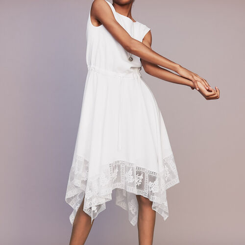 Long sleeveless dress with lace : Ready to wear color White