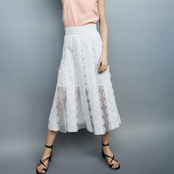 Long Swiss-dot skirt with embroideries : See all color White