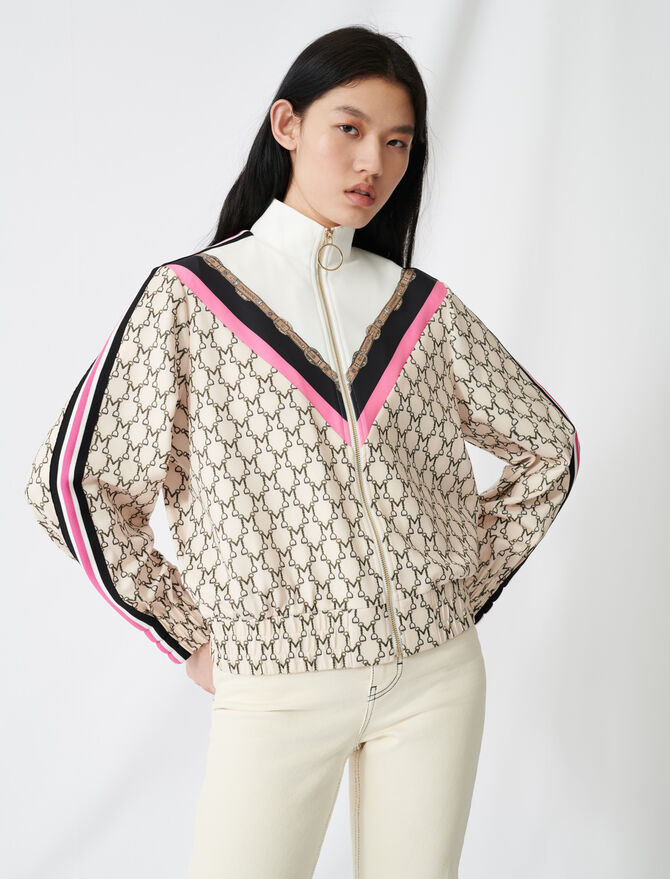 Zip-up sweatshirt with all-over monogram - Knitwear - MAJE