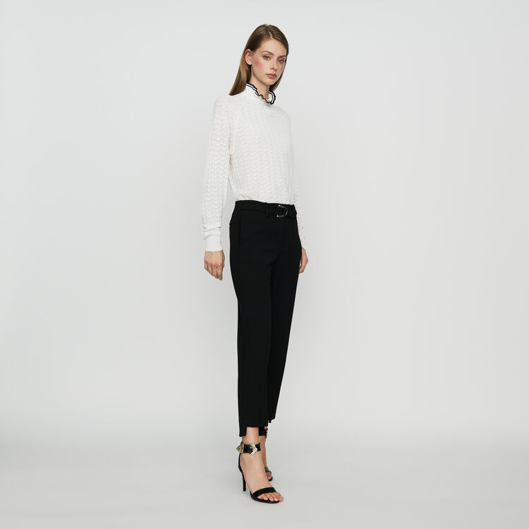 Straight crepe pant : Ready to wear color Black 210
