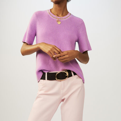 Short-sleeved knit sweater : Sweaters & Cardigans color LILAS