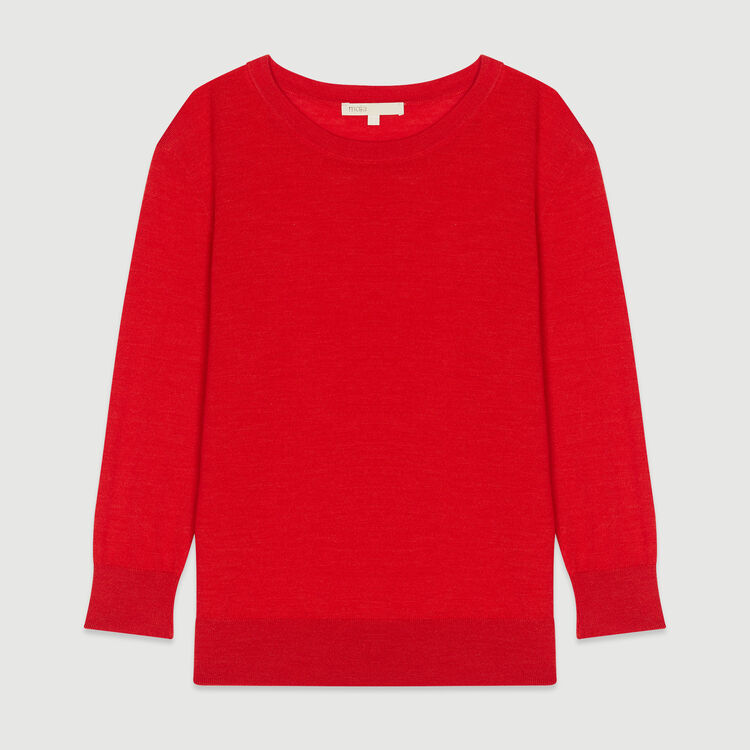 Round collar sweater : Knitwear color Red