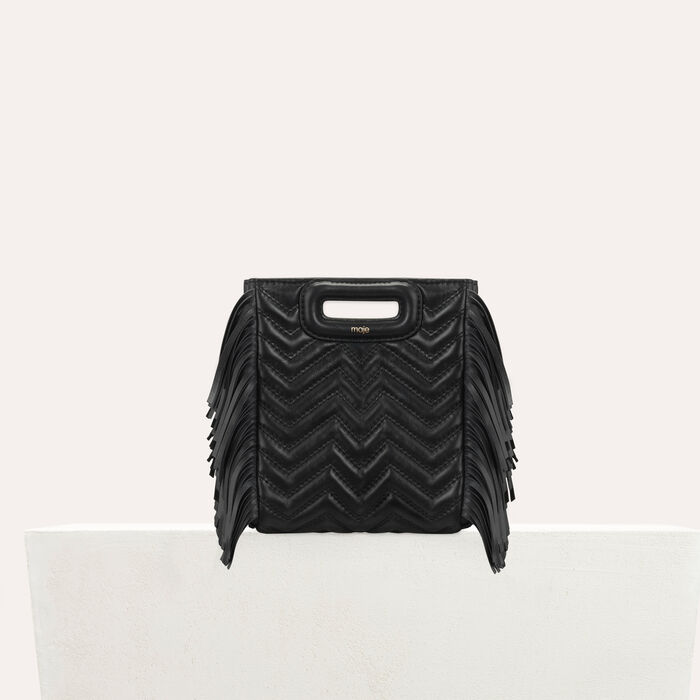 Quilted mini M bag with leather fringe : M Mini color Black 210