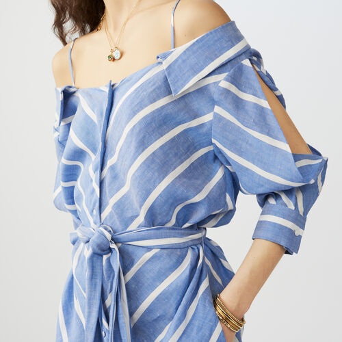 Striped cold-shoulder shirt dress : Dresses color Blue