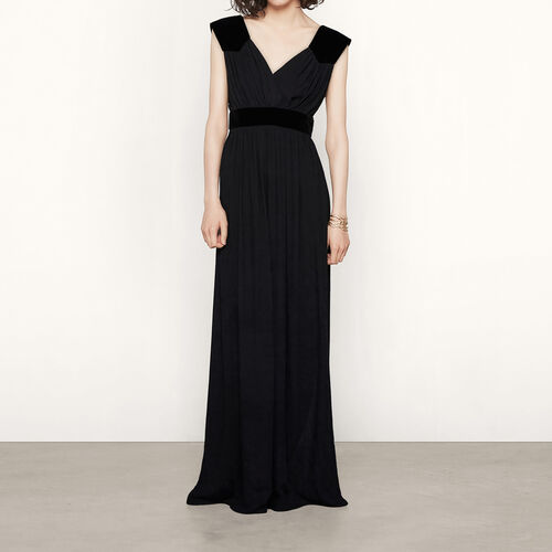 Long dress with suede insets : Dresses color Black 210