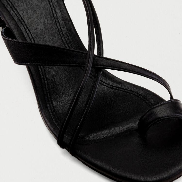 Kitten heel tie-back sandals : Shoes color Black 210