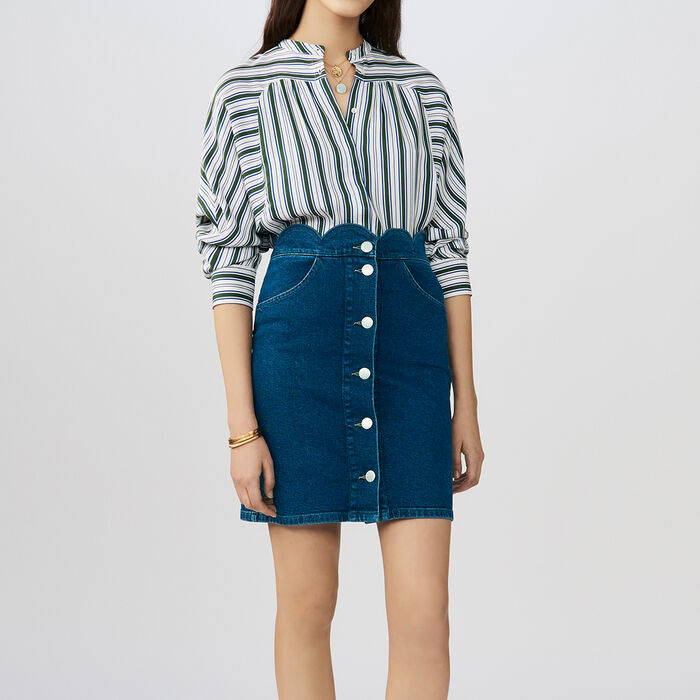 Denim skirt with novelty cuts : Skirts & Shorts color Denim