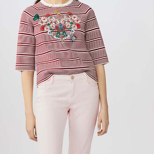 Striped jumper with embroideries : Knitwear color Stripe