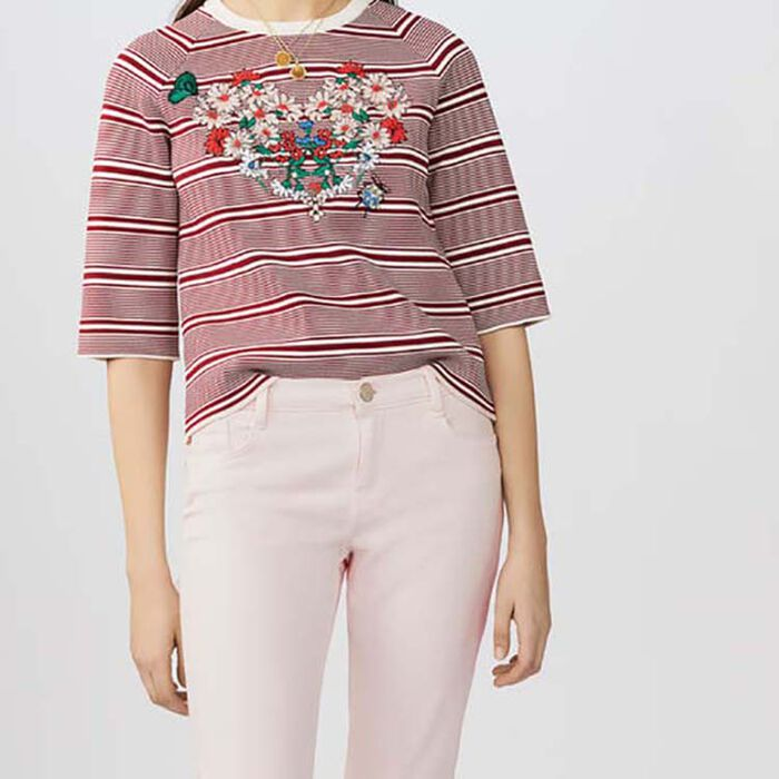 Embroidered striped sweater : Knitwear color Stripe