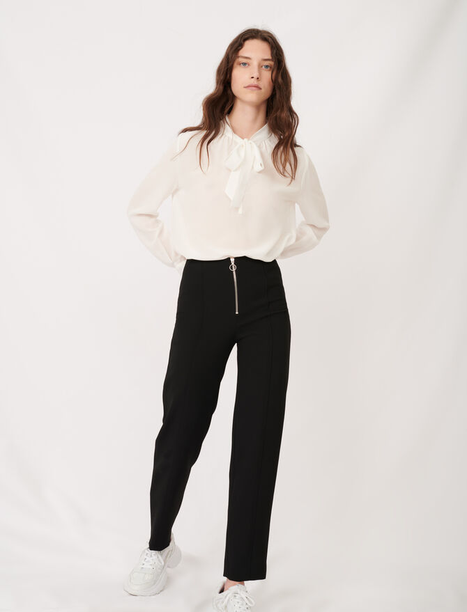Recycled polyester straight cut trousers -  - MAJE