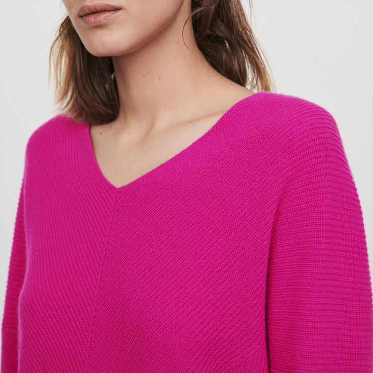 Cashmere V-neck sweater : Knitwear color Purple