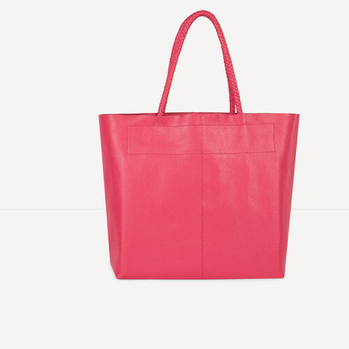 Large leather tote : Accessories color Raspberry