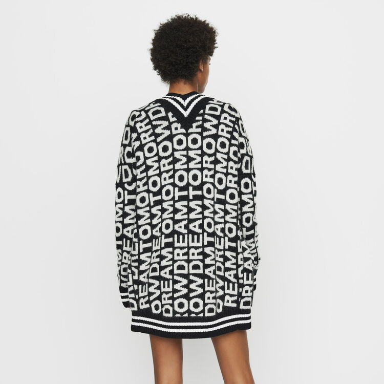 Oversize cardigan in novelty knit : Knitwear color Black 210