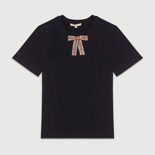 Loose cotton T-shirt with jeweled bow : T-Shirts color Black 210