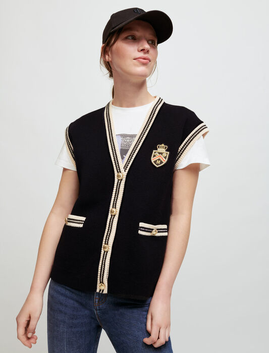 Sleeveless college-style cardigan : Knitwear color Black