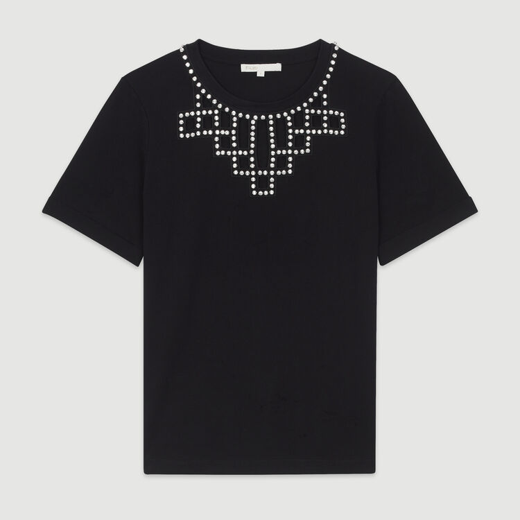Open-work T-shirt with rhinestones : T-Shirts color Black