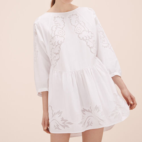 Loose-fitting dress with embroidery : Dresses color WHITE